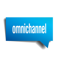 Omnichannel blue 3d speech bubble vector