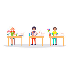 Origami concept banner with peope making origami vector