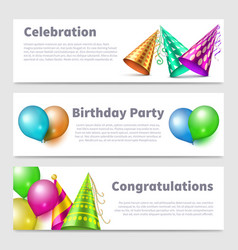 party banners template realistic hats vector image
