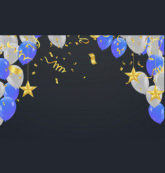 party shiny banners with air balloons and vector image