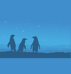 Penguin on snow hill landscape silhouettes vector