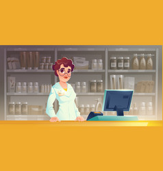 Pharmacist woman at pharmacy counter in drugstore vector