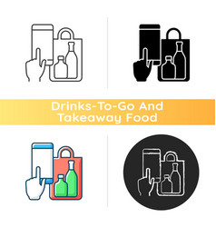 Phone drinks ordering icon vector
