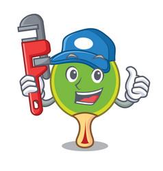 plumber ping pong racket mascot cartoon vector image