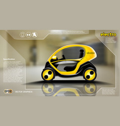 realistic 3d electric car infographic concept vector image