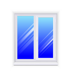 realistic glass window with sill vector image