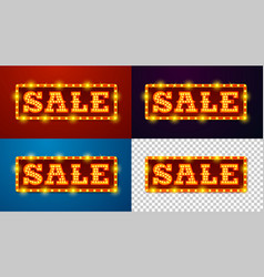 realistic glowing sale signs with lamps vector image