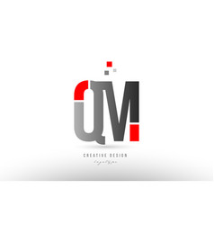 Red grey alphabet letter qm q m logo combination vector