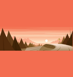 road in a forest and coast landscape scene vector image
