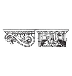 Roman console artisan finishes vintage engraving vector