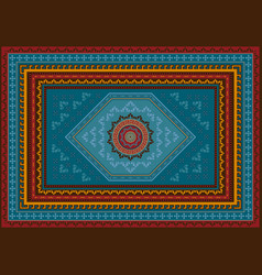 Rug with design in bluered orange colors vector