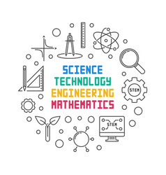 Science technology engineering and math round vector