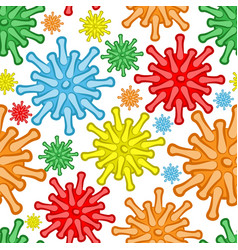 seamless pattern with multicolored viruses vector image