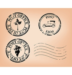 set - grungy post stamps vector image