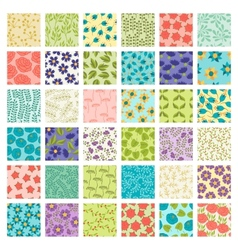 Set of 36 seamless floral patterns vector image