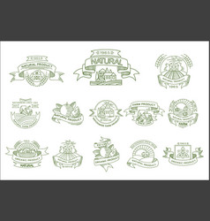 set of linear labels for natural farm vector image