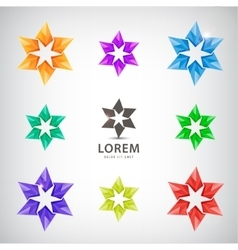 set of looped stars icons logos for vector image
