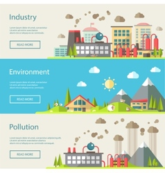 Set of modern flat design conceptual ecological vector image