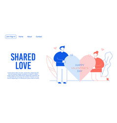 Shared love message service landing page design vector