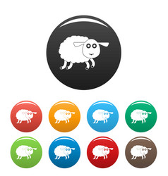 sheep icons set color vector image