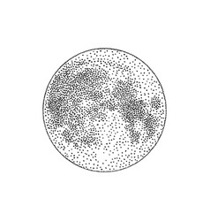 silhouette full moon hand drawn in modern vector image
