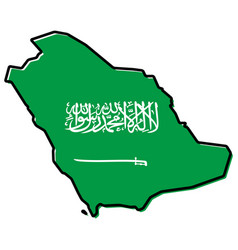 simplified map - kingdom of saudi arabia ksa vector image