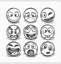 Sketch of hand drawn set of cartoon emoji vector