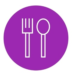 Spoon and fork line icon vector image