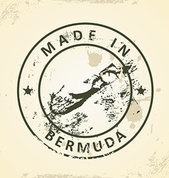 Stamp with map of Bermuda vector