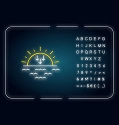 Sunset neon light icon vector