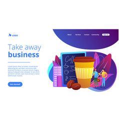 take away coffee concept landing page vector image