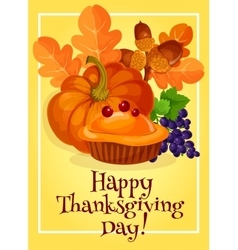 Thanksgiving Day traditional greeting card design vector image