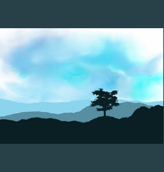 Tree landscape on watercolour texture vector