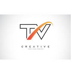 Tv t v swoosh letter logo design with modern vector