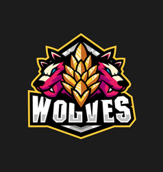 Two wolves for gaming squad logo vector