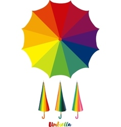 Umbrella colorful open and closed umbrella vector