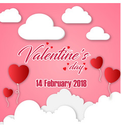 valentines day 14 february 2018 white cloud red he vector image