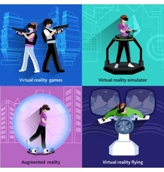 Virtual Augmented Reality 4 Icons Square vector