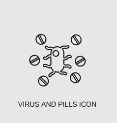 Virus and pills icon vector
