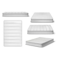White mattress realistic set vector