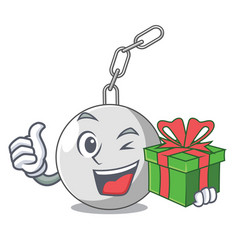 With gift wrecking ball isolated on a mascot vector