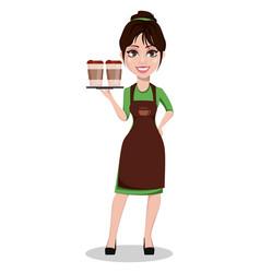 Young beautiful female barista in uniform vector