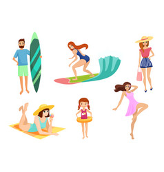 young people and on vacation beach set summer vector image
