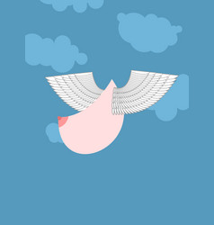 boobs with wings flying flying tit sorority logo vector image vector image