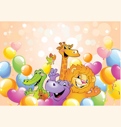 Cartoon animals cheerful background vector