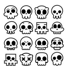 halloween cartoon skull icons mexican cute vector image vector image