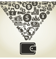 Money from purse vector image vector image