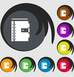 notebook icon sign Symbols on eight colored vector image