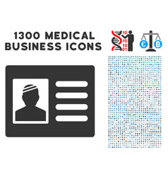 patient card icon with 1300 medical business icons vector image vector image
