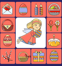 set easter icons and angel vector image vector image